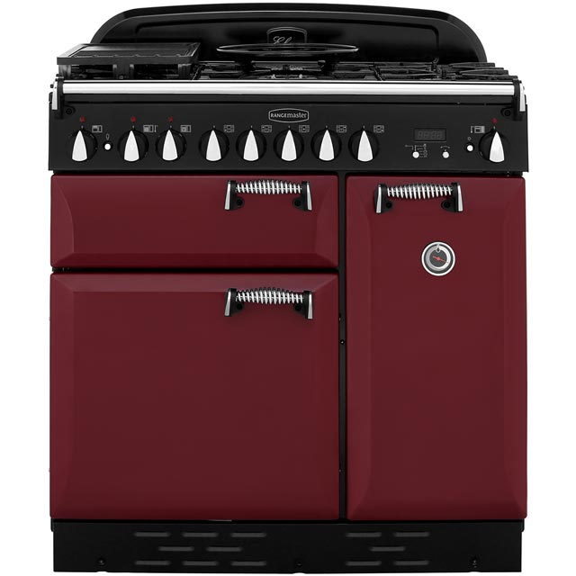 Rangemaster Elan ELAS90DFFCY 90cm Dual Fuel Range Cooker - Cranberry - A Rated