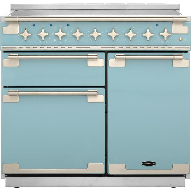 Rangemaster Elise ELS100EICA 100cm Electric Range Cooker with Induction Hob - China Blue - A/A Rated - ELS100EICA_CHB - 1