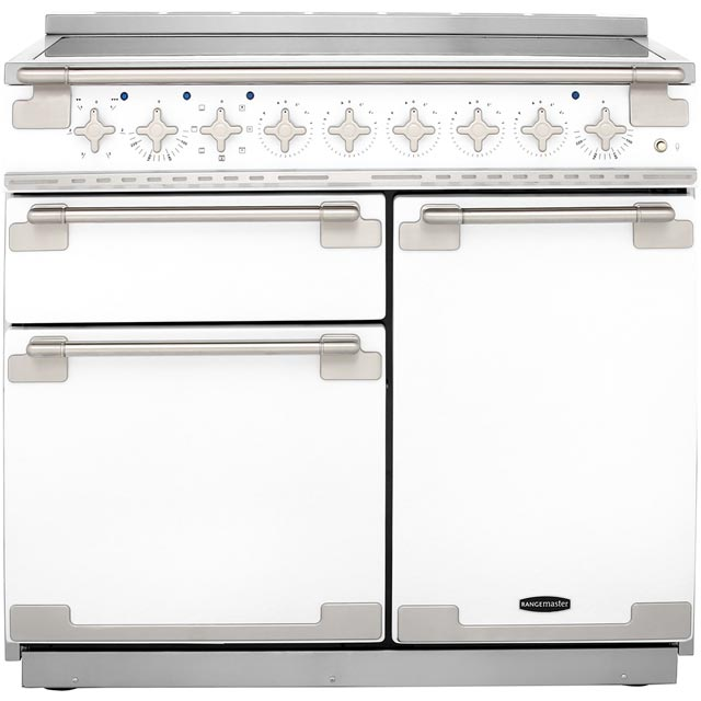 Rangemaster Elise ELS100EIWH 100cm Electric Range Cooker with Induction Hob - White - A/A Rated - ELS100EIWH_WH - 1