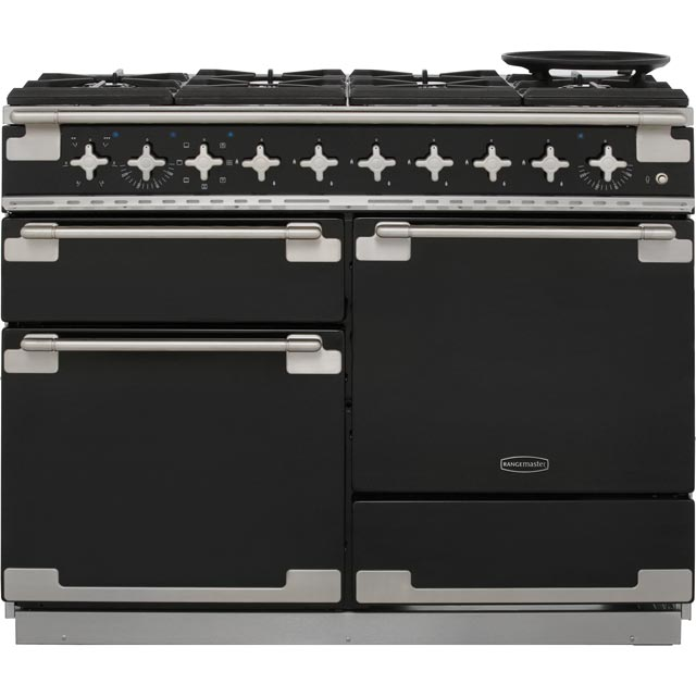 Rangemaster Elise 110cm Dual Fuel Range Cooker - Black Gloss - A Rated
