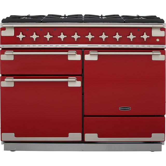 Rangemaster Elise ELS110DFFRD 110cm Dual Fuel Range Cooker - Cherry Red - A Rated - ELS110DFFRD_CHE - 1