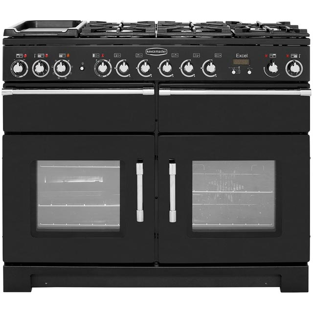 Rangemaster Excel 110cm Dual Fuel Range Cooker - Black / Chrome - A Rated