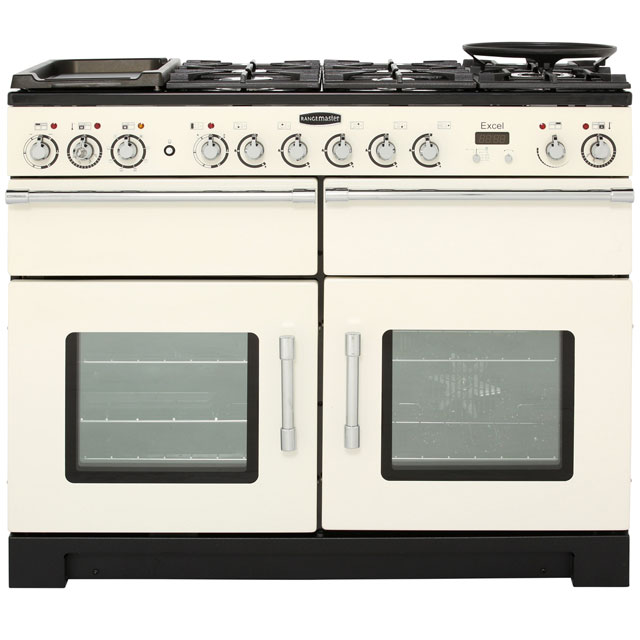Rangemaster Excel 110cm Dual Fuel Range Cooker - Ivory / Chrome - A Rated