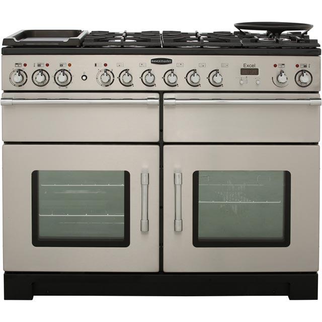 rangemaster excel 110cm dual fuel range cooker stainless steel chrome