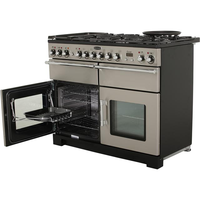 Rangemaster EXL110DFFCY/C Excel 110cm Dual Fuel Range Cooker - Cranberry / Chrome - EXL110DFFCY/C_CY - 2
