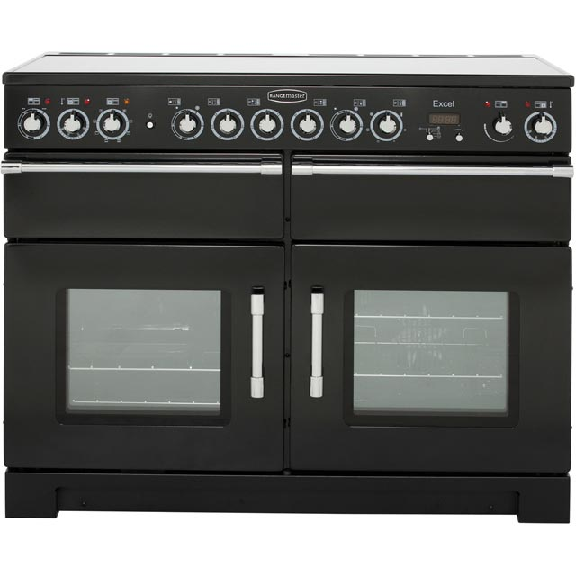 Rangemaster Excel 110cm Electric Range Cooker with Ceramic Hob - Black / Chrome - A Rated