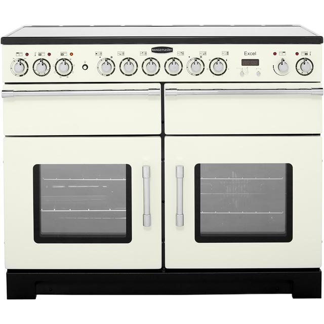Rangemaster Excel EXL110ECIV/C 110cm Electric Range Cooker with Ceramic Hob - Ivory / Chrome - A Rated - EXL110ECIV/C_CR - 1