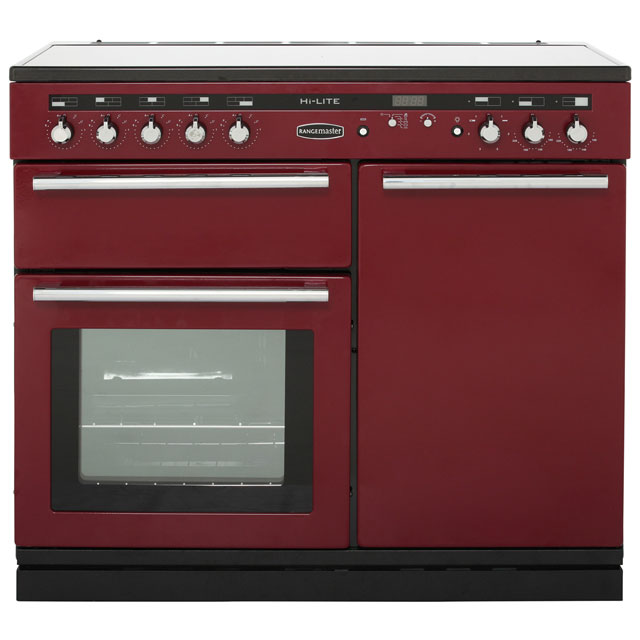 Rangemaster Hi-Lite 100cm Electric Range Cooker with Induction Hob - Cranberry - A Rated