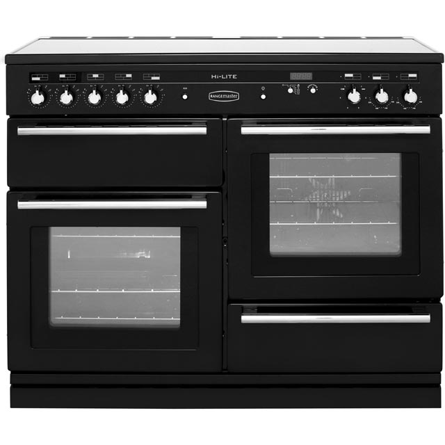 Rangemaster Hi-Lite 110cm Electric Range Cooker with Induction Hob - Black - A Rated