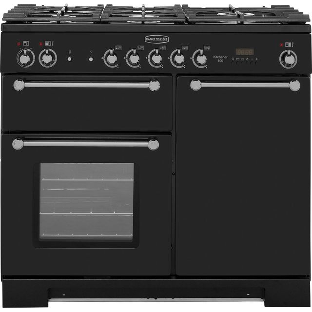 Rangemaster Kitchener KCH100DFFBL/C 100cm Dual Fuel Range Cooker - Black / Chrome - A/A Rated - KCH100DFFBL/C_Bk - 1