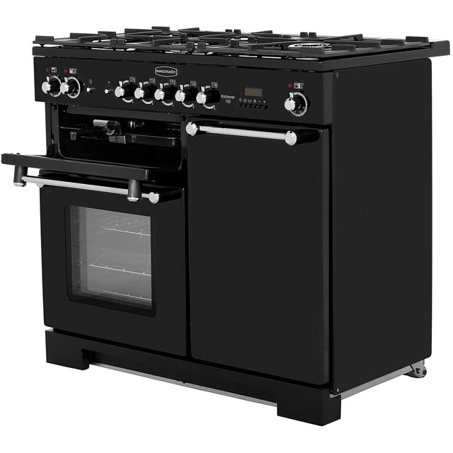Rangemaster KCH100DFFCR/C Kitchener 100cm Dual Fuel Range Cooker - Cream / Chrome - KCH100DFFCR/C_CR - 2