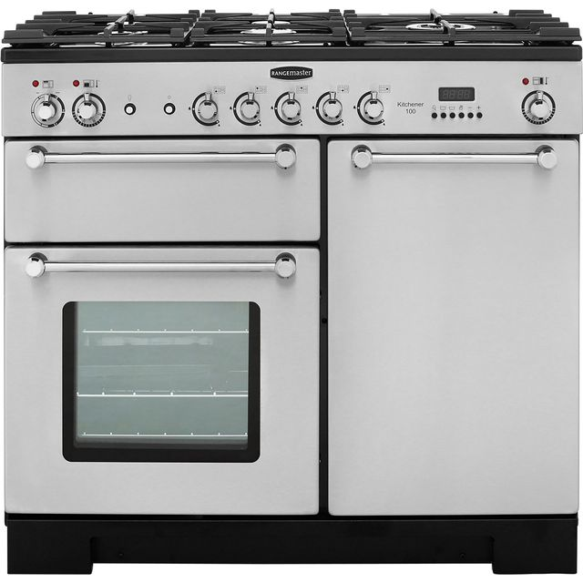 Rangemaster Kitchener KCH100DFFSS/C 100cm Dual Fuel Range Cooker - Stainless Steel / Chrome - A/A Rated - KCH100DFFSS/C_SS - 1