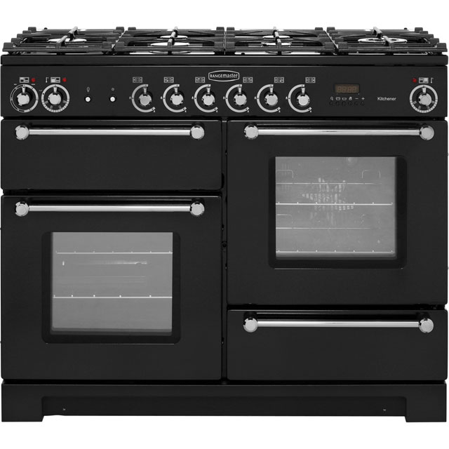 Rangemaster Kitchener KCH110DFFBL/C 110cm Dual Fuel Range Cooker - Black / Chrome - A/A Rated