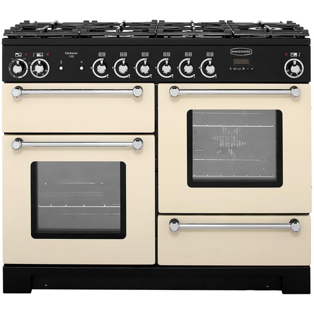 Rangemaster Kitchener KCH110DFFCR/C 110cm Dual Fuel Range Cooker - Cream / Chrome - A/A Rated - KCH110DFFCR/C_CR - 1