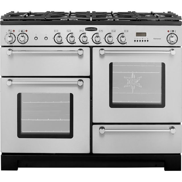 Rangemaster Kitchener KCH110DFFSS/C 110cm Dual Fuel Range Cooker - Stainless Steel / Chrome - A Rated - KCH110DFFSS/C_SS - 1