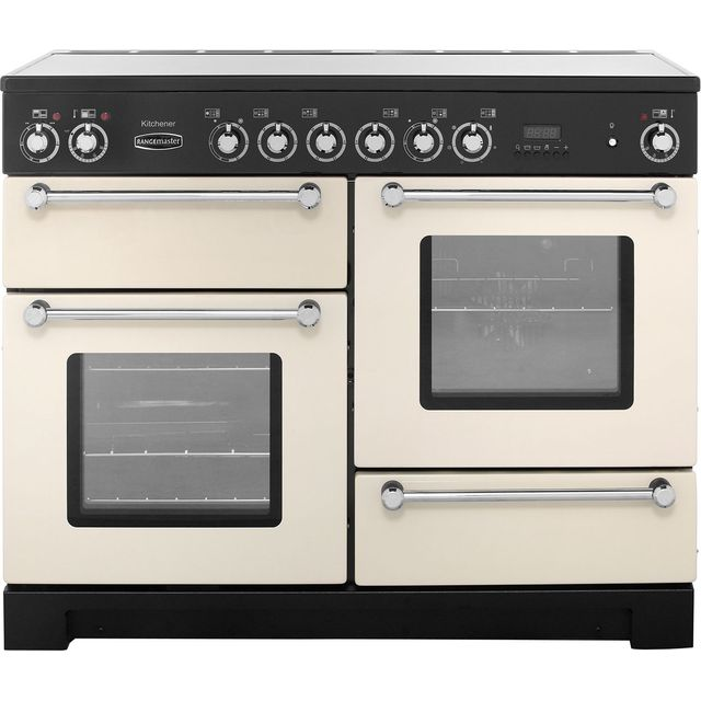 Rangemaster Kitchener KCH110ECCR/C 110cm Electric Range Cooker with Ceramic Hob - Cream / Chrome - A/A Rated - KCH110ECCR/C_CR - 1
