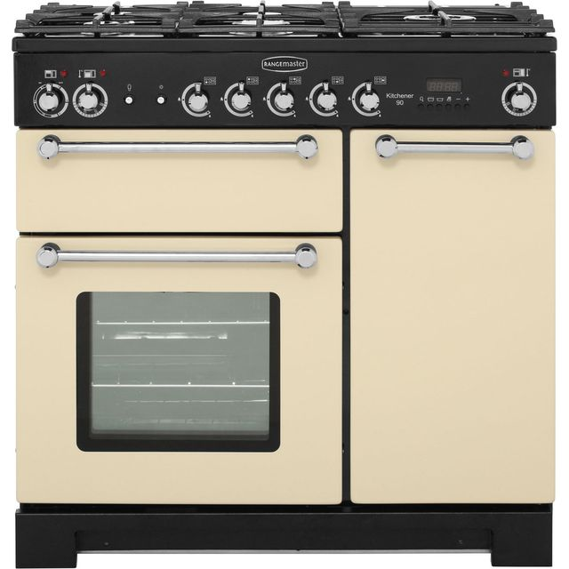 Rangemaster Kitchener KCH90DFFCR/C 90cm Dual Fuel Range Cooker - Cream / Chrome - A Rated