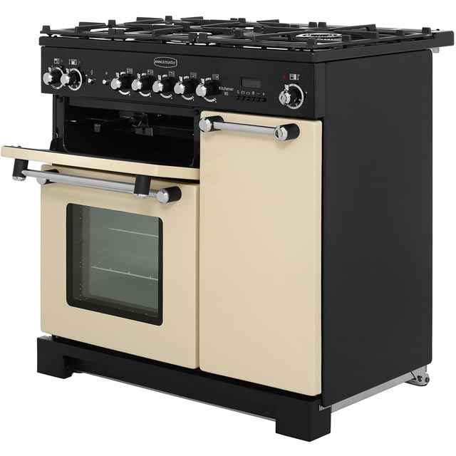 Rangemaster KCH90DFFCR/C Kitchener 90cm Dual Fuel Range Cooker - Cream / Chrome - KCH90DFFCR/C_CR - 2