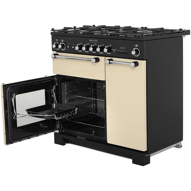 Rangemaster KCH90DFFCR/C Kitchener 90cm Dual Fuel Range Cooker - Cream / Chrome - KCH90DFFCR/C_CR - 3