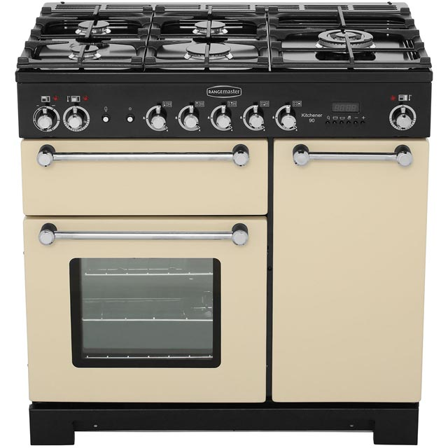 Rangemaster KCH90DFFCR/C Kitchener 90cm Dual Fuel Range Cooker - Cream / Chrome - KCH90DFFCR/C_CR - 5