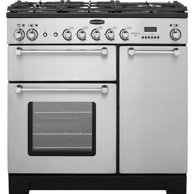 Rangemaster Kitchener KCH90DFFSS/C 90cm Dual Fuel Range Cooker - Stainless Steel / Chrome - A Rated - KCH90DFFSS/C_SS - 1