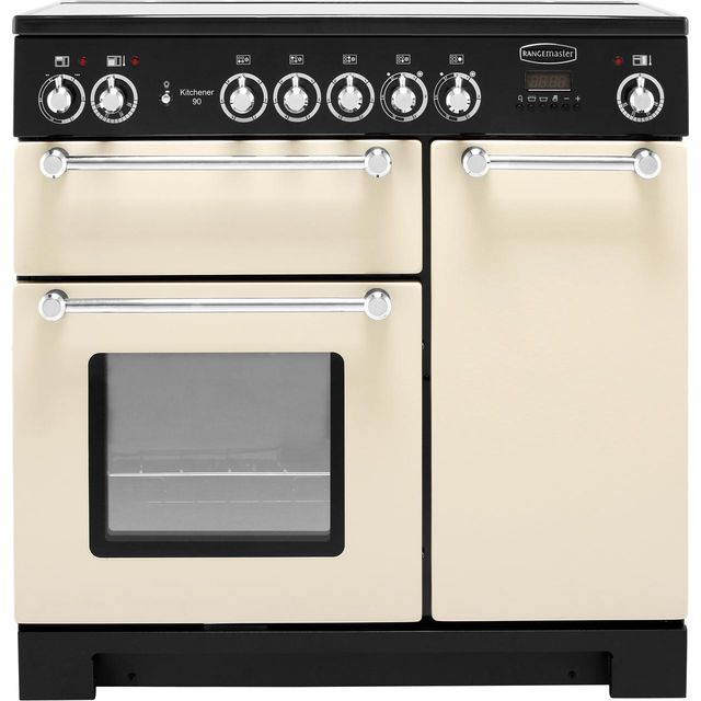 Rangemaster Kitchener KCH90ECCR/C 90cm Electric Range Cooker with Ceramic Hob - Cream / Chrome - A/A Rated