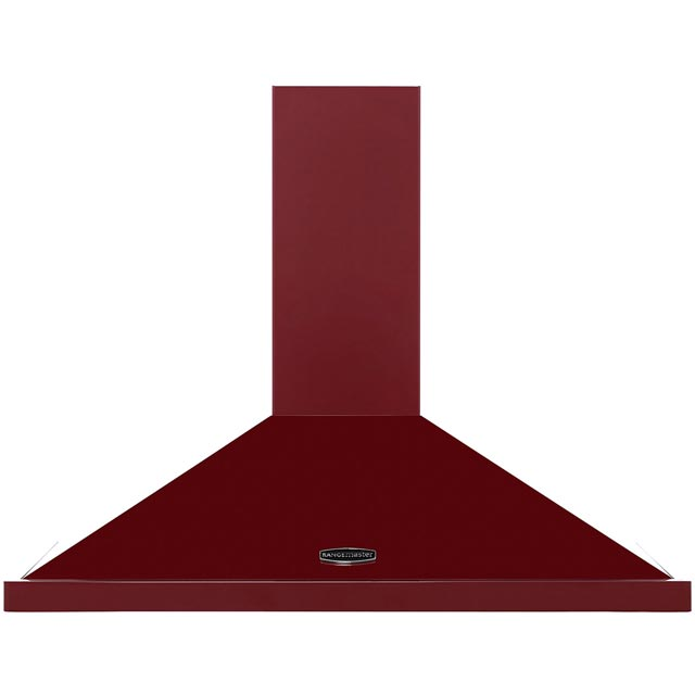 Rangemaster LEIHDC90CY/C 90 cm Chimney Cooker Hood - Cranberry / Chrome - E Rated