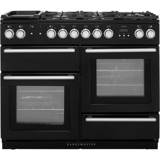 Rangemaster Nexus NEX110DFFBL/C 110cm Dual Fuel Range Cooker - Black - A/A Rated