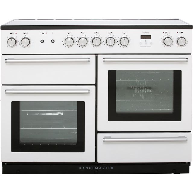 Rangemaster Nexus 110cm Electric Range Cooker with Induction Hob - White / Chrome - A/A Rated