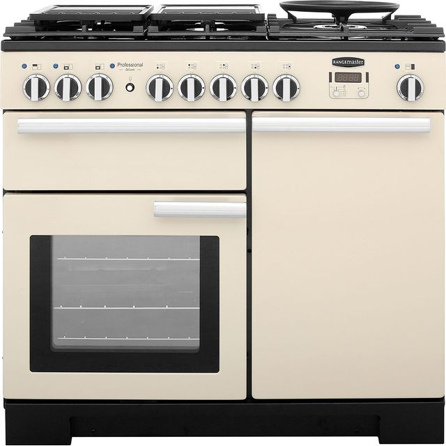Rangemaster Professional Deluxe PDL100DFFCR/C 100cm Dual Fuel Range Cooker - Cream - A/A Rated - PDL100DFFCR/C_CR - 1
