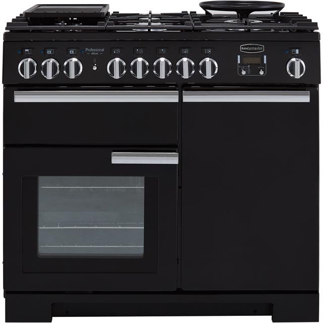 Rangemaster Professional Deluxe PDL100DFFGB/C 100cm Dual Fuel Range Cooker - Black - A/A Rated - PDL100DFFGB/C_BK - 1