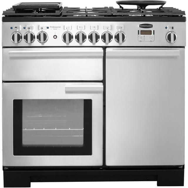 Rangemaster PDL100DFFSS/C Professional Deluxe 100cm Dual Fuel Range Cooker - Stainless Steel - PDL100DFFSS/C_SS - 1