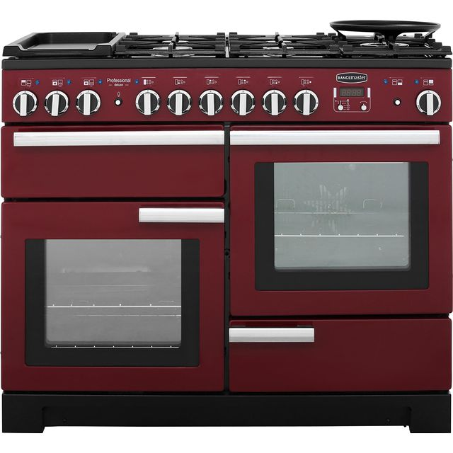 Rangemaster Professional Deluxe PDL110DFFCY/C 110cm Dual Fuel Range Cooker - Cranberry - A/A Rated - PDL110DFFCY/C_CY - 1