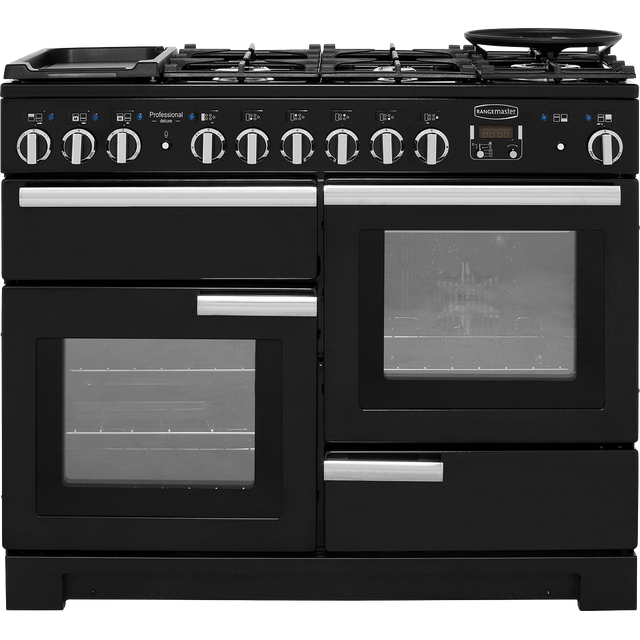 Rangemaster Professional Deluxe 110cm Dual Fuel Range Cooker - Black - A/A Rated