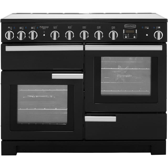 Rangemaster Professional Deluxe 110cm Electric Range Cooker with Induction Hob - Black - A Rated
