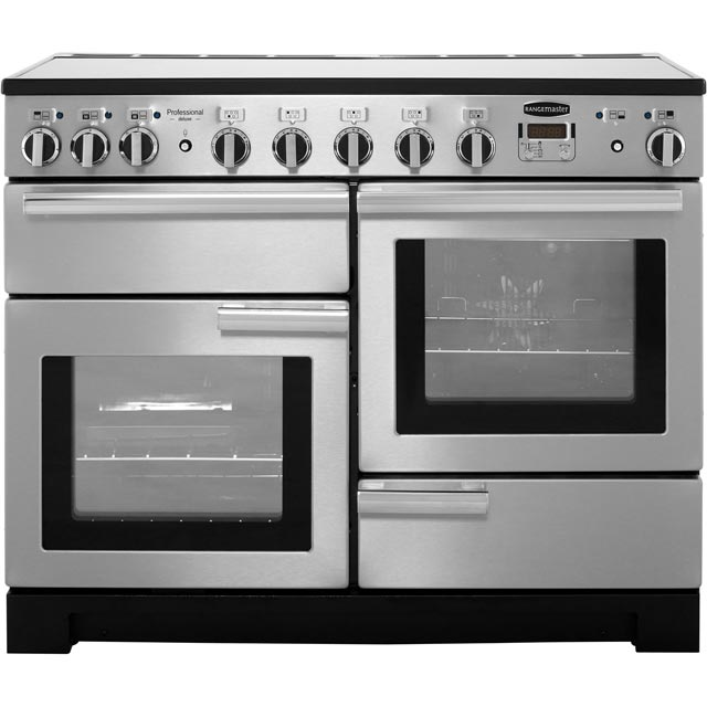 Rangemaster Professional Deluxe 110cm Electric Range Cooker with Induction Hob - Stainless Steel - A Rated