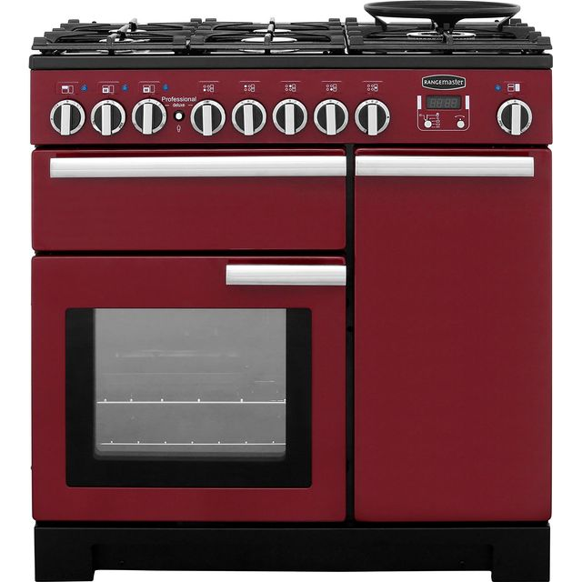 Rangemaster Professional Deluxe PDL90DFFCY/C 90cm Dual Fuel Range Cooker - Cranberry - A/A Rated - PDL90DFFCY/C_CY - 1
