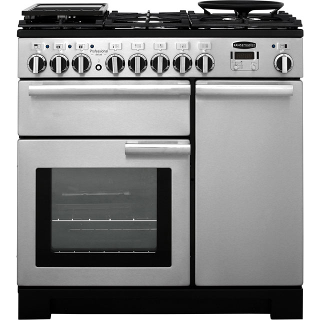 Rangemaster PDL90DFFSS/C Professional Deluxe 90cm Dual Fuel Range Cooker - Stainless Steel - PDL90DFFSS/C_SS - 1
