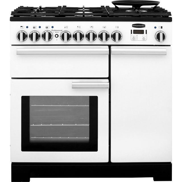 Rangemaster Professional Deluxe PDL90DFFWH/C 90cm Dual Fuel Range Cooker - White - A/A Rated - PDL90DFFWH/C_WH - 1