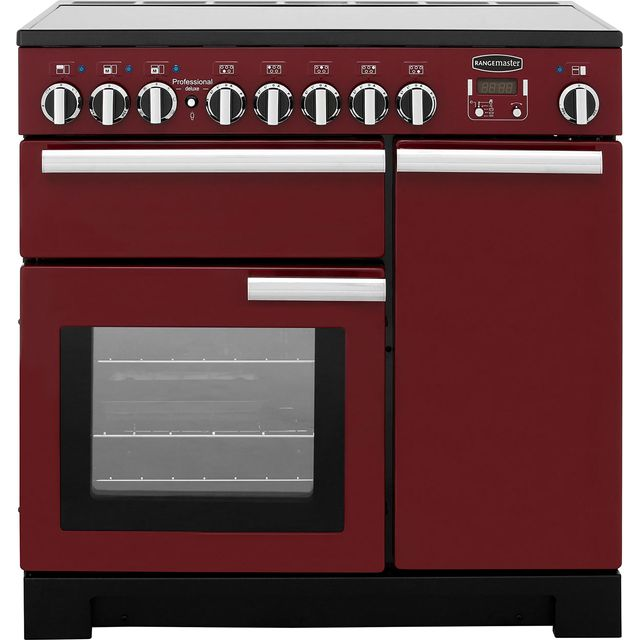 Rangemaster Professional Deluxe PDL90EICY/C 90cm Electric Range Cooker with Induction Hob - Cranberry / Chrome - A Rated