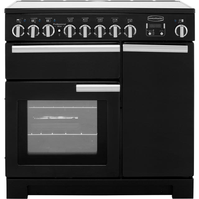 Rangemaster Professional Deluxe PDL90EIGB/C 90cm Electric Range Cooker with Induction Hob - Black / Chrome - A Rated - PDL90EIGB/C_BK - 1