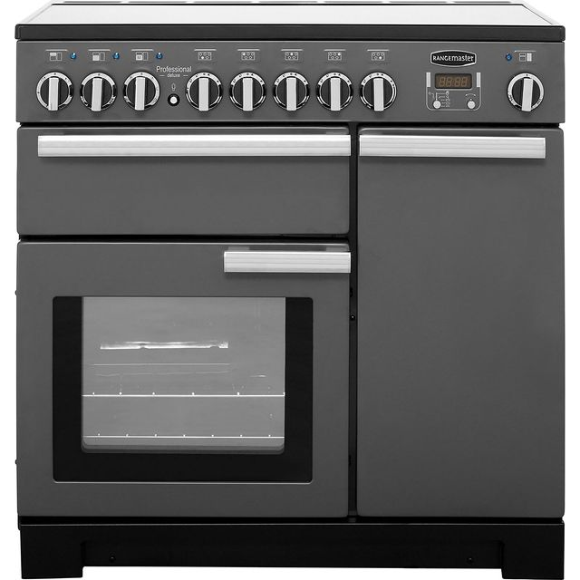 Rangemaster Professional Deluxe 90cm Electric Range Cooker with Induction Hob - Slate - A Rated
