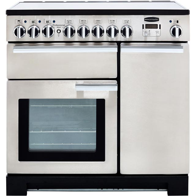 Rangemaster Professional Deluxe PDL90EISS/C 90cm Electric Range Cooker with Induction Hob - Stainless Steel / Chrome - A/A Rated - PDL90EISS/C_SS - 1