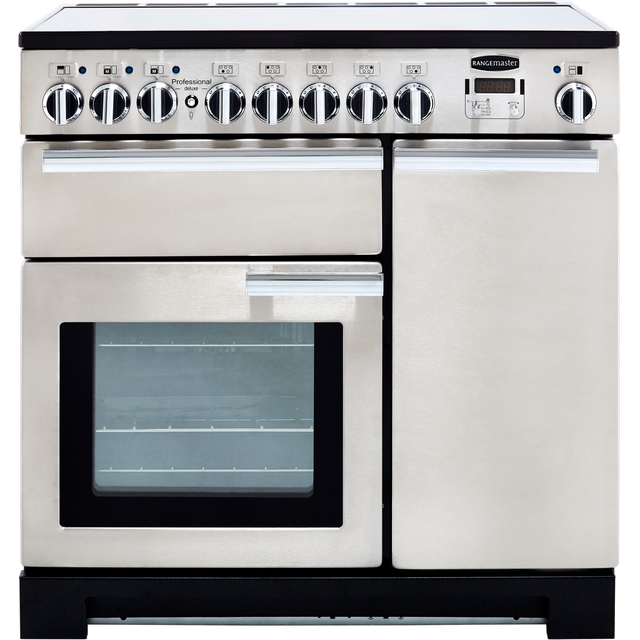 Rangemaster Professional Deluxe PDL90EISS/C 90cm Electric Range Cooker with Induction Hob - Stainless Steel / Chrome - A/A Rated