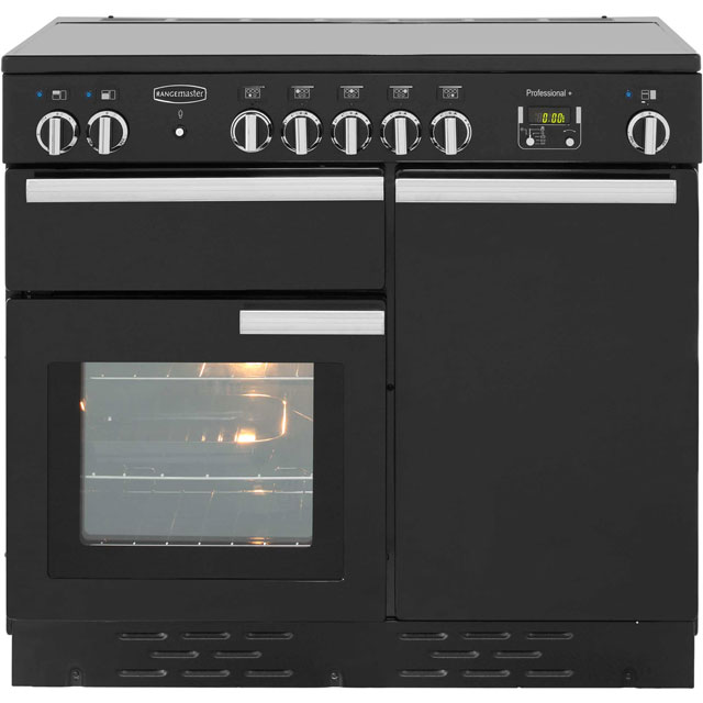 Rangemaster Professional Plus PROP100EIGB/C 100cm Electric Range Cooker with Induction Hob - Black - A/A Rated - PROP100EIGB/C_BK - 1