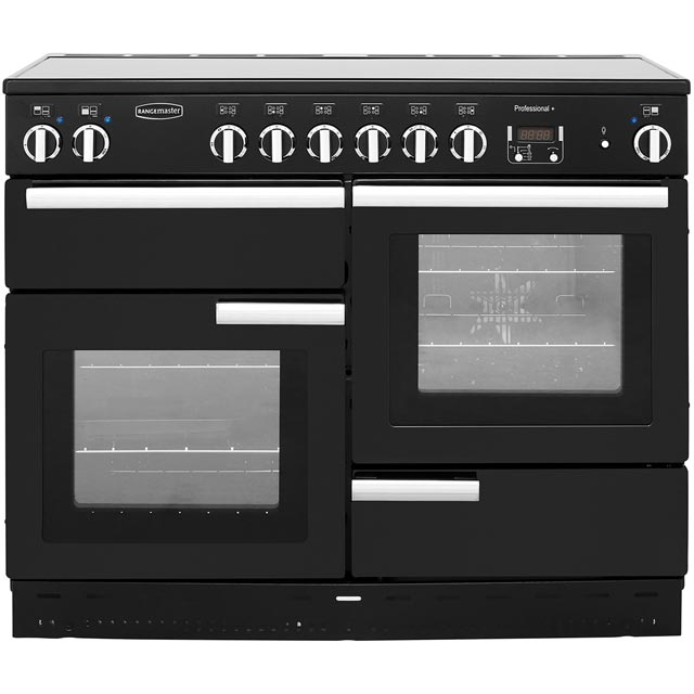 Rangemaster Professional Plus PROP110ECGB/C 110cm Electric Range Cooker with Ceramic Hob - Black / Chrome - A/A+ Rated - PROP110ECGB/C_BK - 1
