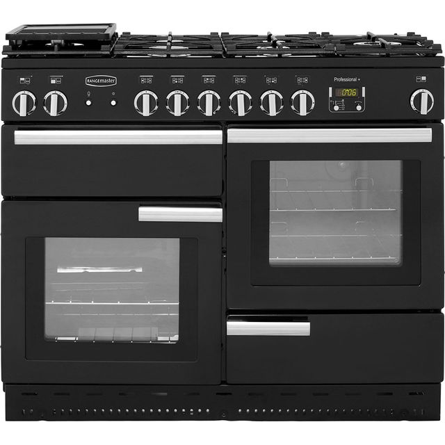 Rangemaster Professional Plus PROP110NGFGB/C 110cm Gas Range Cooker - Black / Chrome - A/A Rated - PROP110NGFGB/C_BK - 1