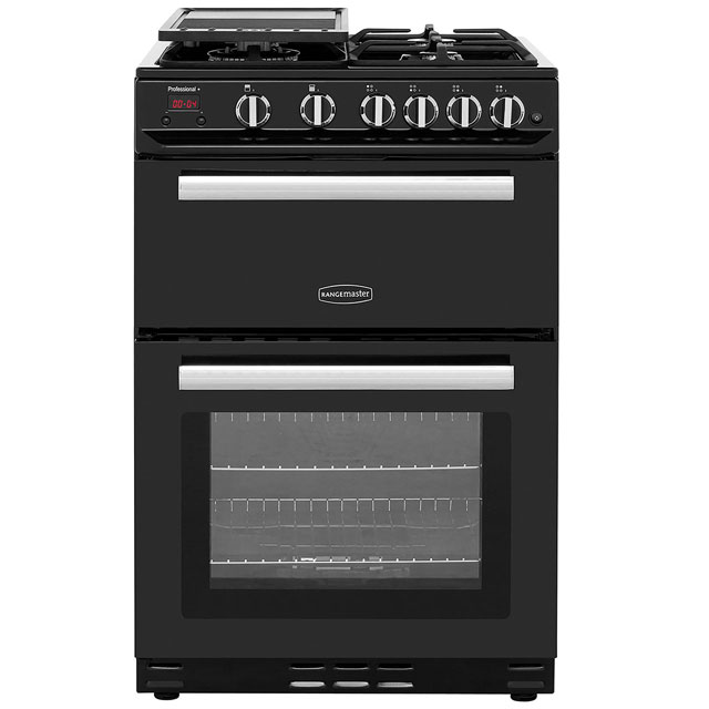 Rangemaster Professional Plus 60 PROP60NGFBL/C 60cm Gas Cooker with Variable Gas Grill - Black / Chrome - B/B Rated - PROP60NGFBL/C_BK - 1