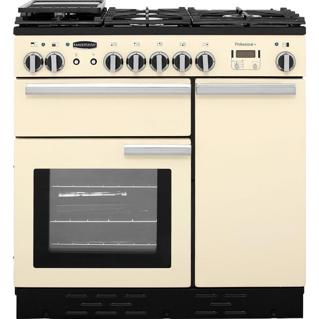 Rangemaster Professional Plus PROP90DFFCR/C 90cm Dual Fuel Range Cooker - Cream / Chrome - A Rated