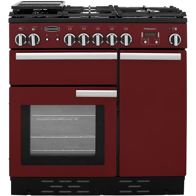 Rangemaster Professional Plus PROP90DFFCY/C 90cm Dual Fuel Range Cooker - Cranberry / Chrome - A Rated - PROP90DFFCY/C_CB - 1